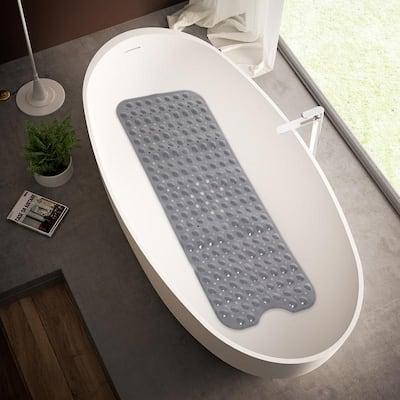 "Bath Shower Tub Mat 39x15"" Machine Washable Bathtub Mats with Drain Holes, Suction Cups"