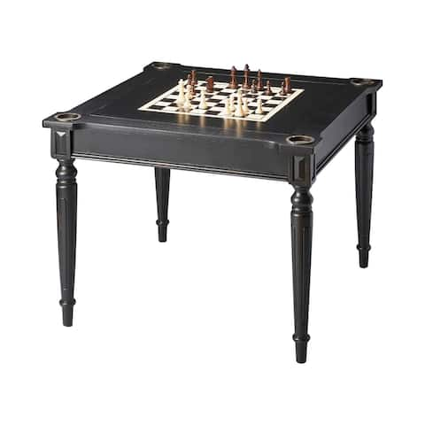 Transitional Square Wooden Multi-Game Card Table in Black Licorice Finish