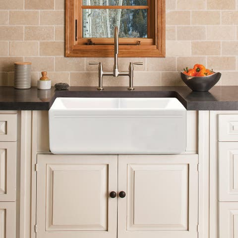 """Proox 33"""" L X 18"""" W Double Basin Farmhouse Kitchen Sink with Basket Strainer"""