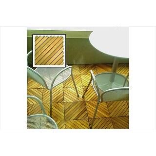 Vifah V368 12 Diagonal Slat Acacia Interlocking Deck Tile - Teak Finish