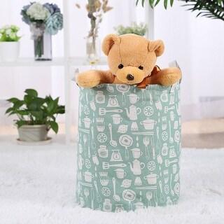 "Cotton Linen Foldable Storage Basket Bin Toy Clothes Organizer 11.8"" x 16.1"" - 11.8"" x 16.1"""