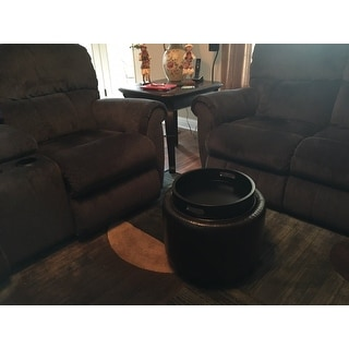 Safavieh Chelsea Brown Storage Bicast Leather Round Tray Ottoman