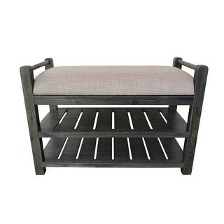 Link to Schuyler Cushioned Bench with shoe rack Similar Items in Living Room Furniture
