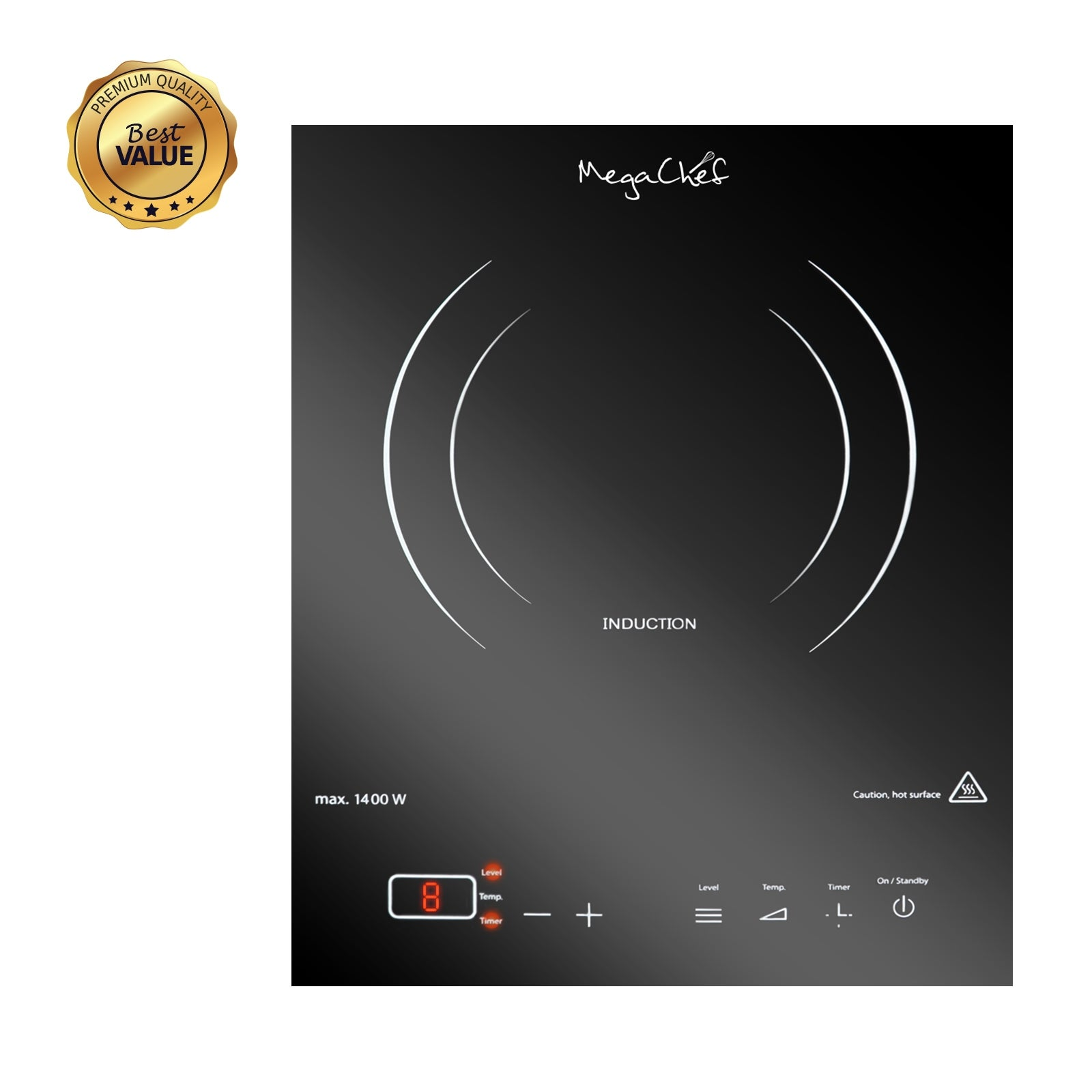 MegaChef Portable 1400W Single Induction Cooktop With Digital Control Panel