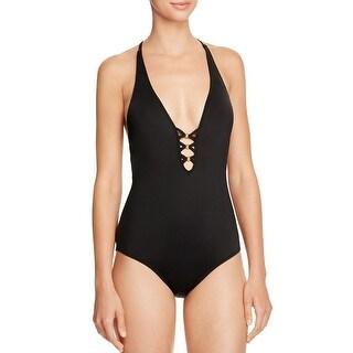 Trina Turk Womens Algiers V-Plunge Beaded One-Piece Swimsuit