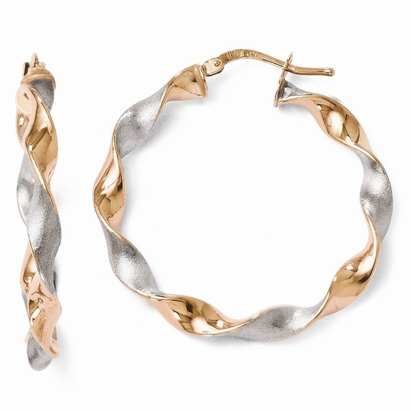 Italian Sterling Silver Rose Gold-plated Twisted Hinged Earrings