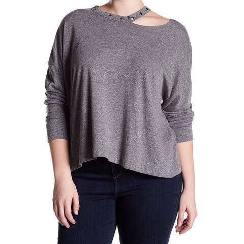 H.I.P. Heather Women's Plus Stud Ripped Knit Top