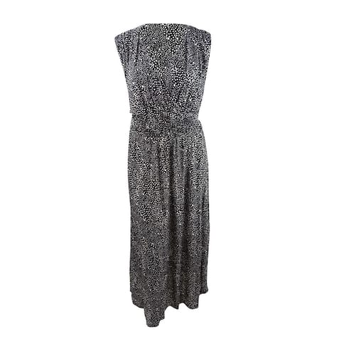 INC Womens Plus Printed Ruched-Shoulder Smocked Maxi Dress