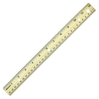Westcott Sturdy Metal Edge Hardwood Ruler - Metric and Standard with Three-Hole Punched, 12 in L