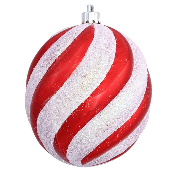 Peppermint Twist Candy Cane Spiral Shatterproof Oval Ball Ornament 4""
