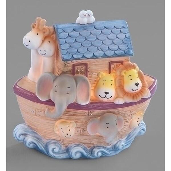 """6.25"""" Noah's Ark Children's Bedroom Religious Table Top Night Light - Brown"""
