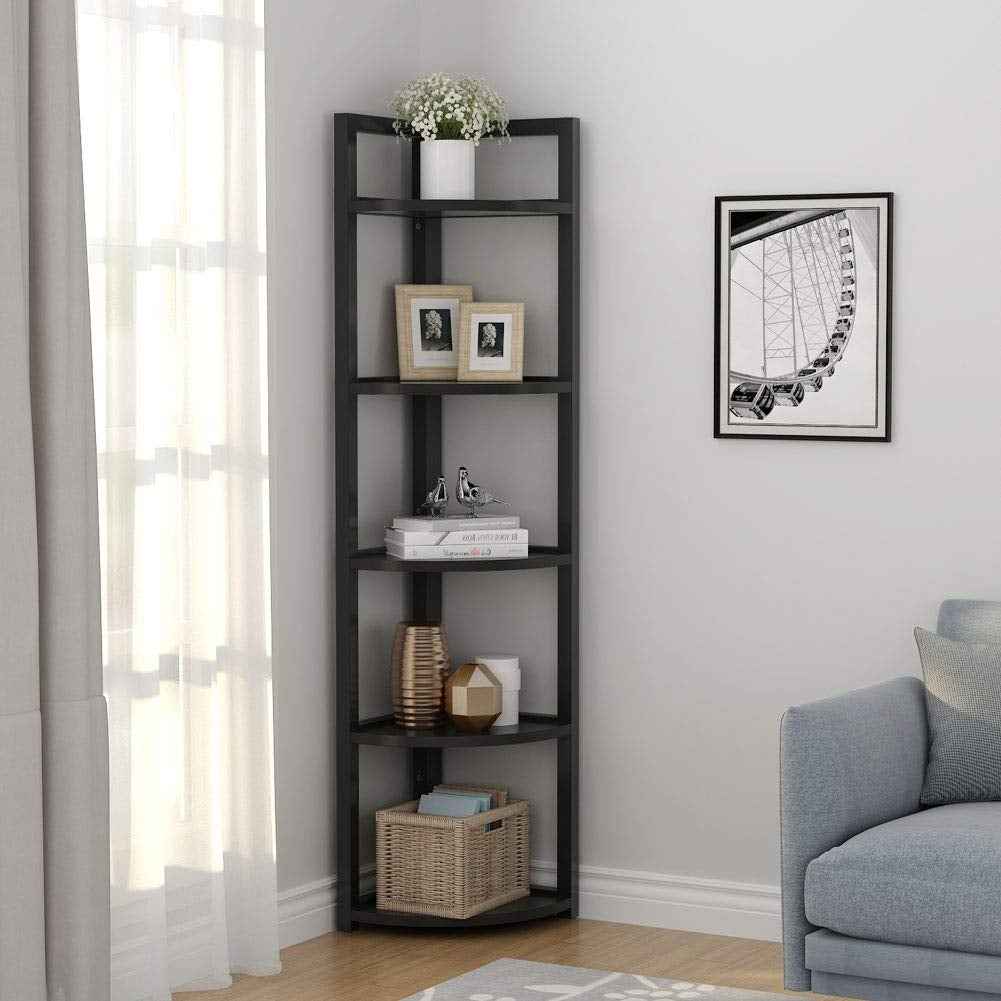 5-tier Corner Shelf, Corner Storage Rack Plant Stand Small Bookshelf for  Living Room, Home Office, Kitchen, Small Space