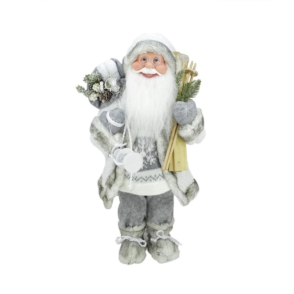 "19"" Luxurious Snowy Standing Santa Claus Christmas Figure with Skis and Lantern"