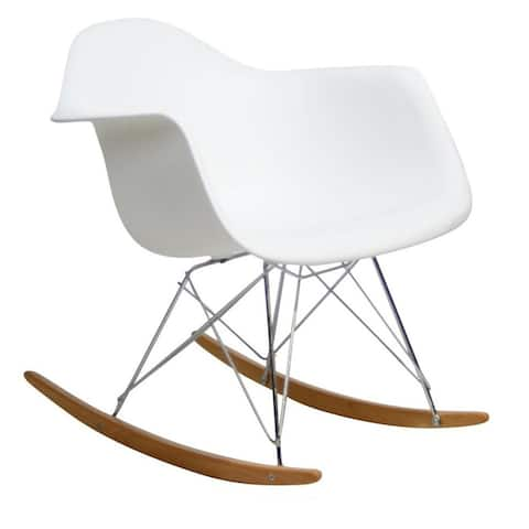 Modern Natural Wood Plastic Rocking Chair Armchair
