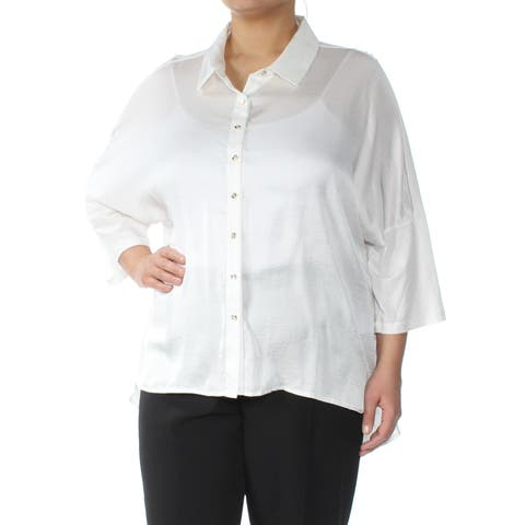TOMMY HILFIGER Womens White 3/4 Sleeve Collared Button Up Top Plus Size: 1X