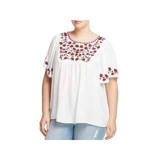 Lucky Brand Womens Plus Hannah Blouse Embroidered Flutter Sleeves