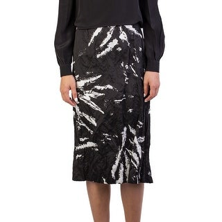 Miu Miu Women's Cotton Metal Fiber Blend Crinkled Long Skirt Black