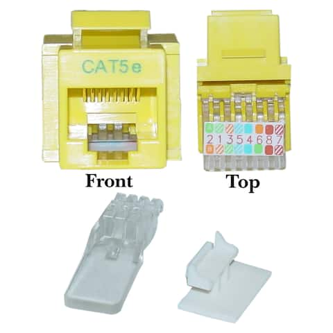 Offex Cat5e Keystone Jack, Yellow, Toolless, RJ45 Female