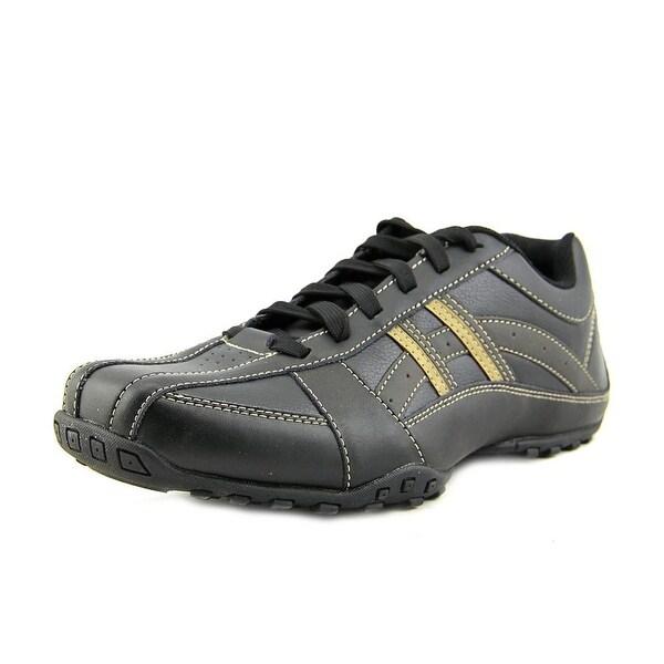 Skechers Citywalk-Malton Men Round Toe Leather Black Walking Shoe