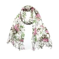 Women's Fashion Floral Soft Wraps Scarves - F1 Pink - Large