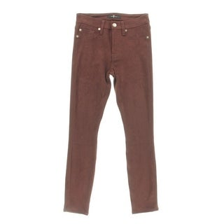 7 For All Mankind Womens Skinny Pants Faux Suede Solid