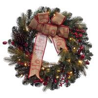 Pre-Lit Berry Pine Artificial Christmas Wreath - 30-Inch, Clear Lights - green