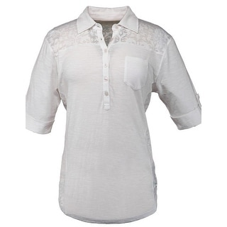 Outback Trading Shirt Womens Raleigh L/S Scroll Buttons White 40105