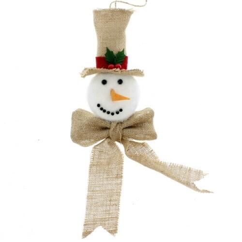 "12"" Tall Burlap Snowman Ornament White, Beige Christmas"