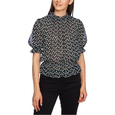 1.STATE Womens Floral Pullover Blouse, green, Large