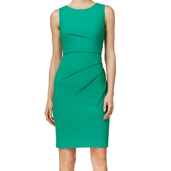Shop Calvin Klein NEW Green Starburst Pintucked Women s Size 6 Sheath Dress  - Free Shipping On Orders Over  45 - Overstock - 18729493 049dad962
