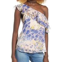 Leith Blue Women's Medium One Shoulder Floral Blouse