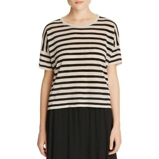 Eileen Fisher Womens Petites Casual Top Round Neck Short Sleeves