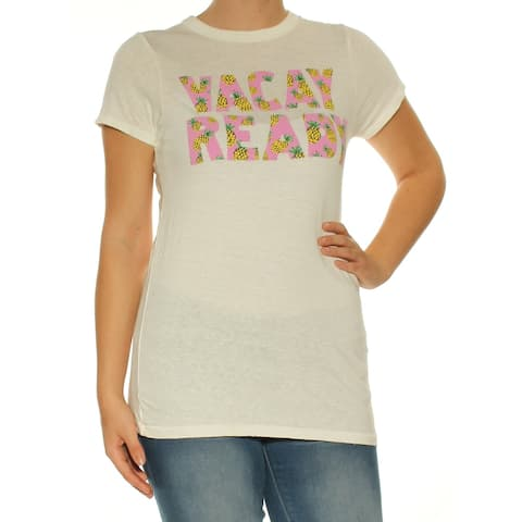 JUNK FOOD Womens White Printed Short Sleeve Crew Neck T-Shirt Top Size: S