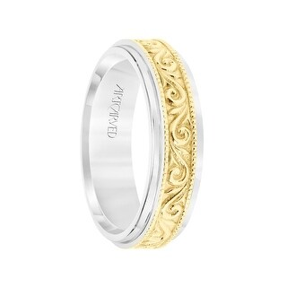 14k Two Toned White & Yellow Gold Wedding Band Raised Paisley Inlay Milgrain Detail Edges by ArtCarved- 6.5 mm