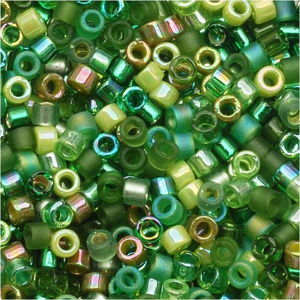 Miyuki Delica Seed Beads Mix Lot 11/0 Ever Green 7.2 Grams