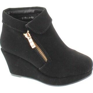 Lucky Top Stella-6K Children Girl's Platform Wedge Heel Fold Over Ankle Booties