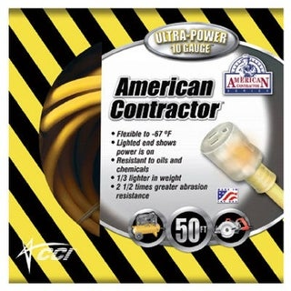 Coleman Cable 01798 American Contractor Outdoor Extension Cord, 50'
