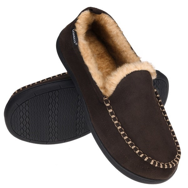 VONMAY Men's Anti-Slip Plush Suede Indoor/Outdoor Moccasin Slippers. Opens flyout.