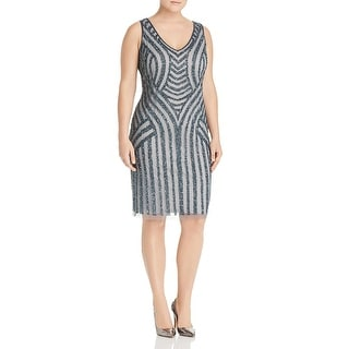 Link to Adrianna Papell Womens Plus Sheath Dress Sequined V-Neck - Pewter Silver Similar Items in Dresses