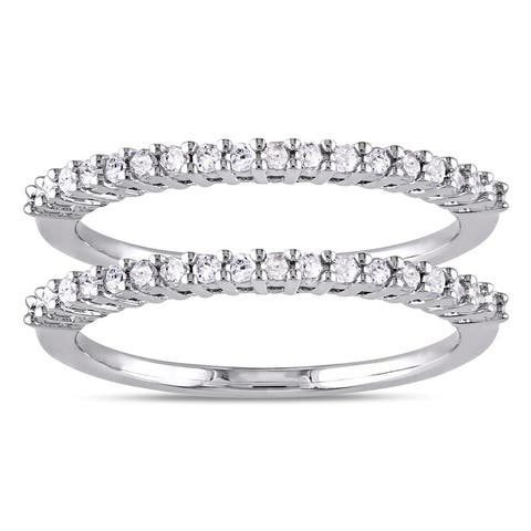 Miadora Sterling Silver Diamond Stackable Semi-eternity Ring Set