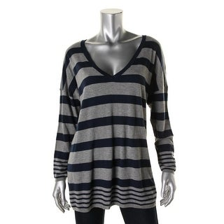 Joie Womens Striped V-Neck Tunic Sweater - S