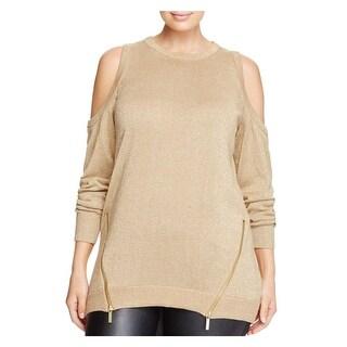 Michael Kors Womens Plus Pullover Sweater Metallic Cold Shoulder