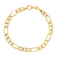 Figaro Link Bracelet in 14K Gold-Bonded Sterling Silver - Yellow