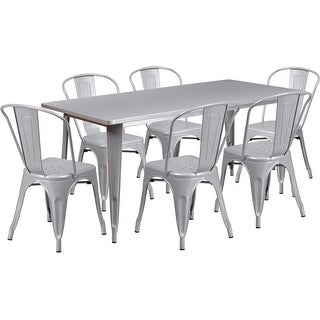 Brimmes 7pcs Rectangular 31.5'' x 63'' Silver Metal Table w/6 Stack Chairs