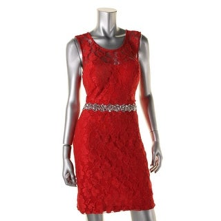 City Studio Womens Juniors Lace Embellished Cocktail Dress