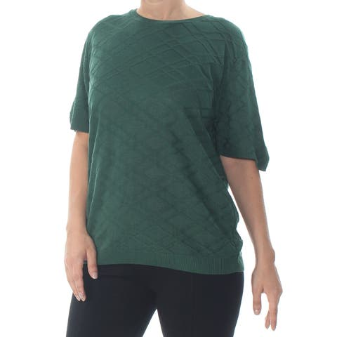 ALFRED DUNNER Womens Green Short Sleeve Sweater Size: L