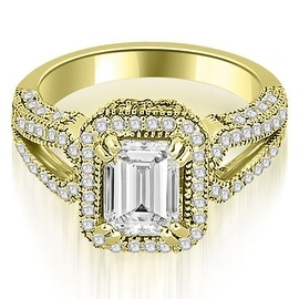 1.35 cttw. 14K Yellow Gold Milgrain Halo Emerald Cut Diamond Engagement Ring