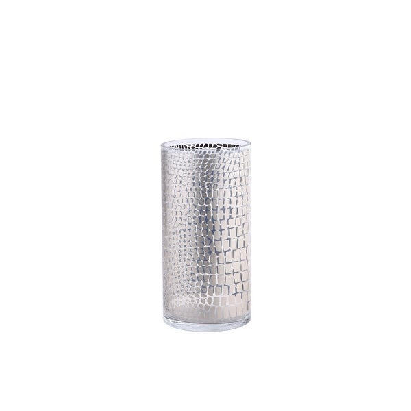 """12"""" Silver Colored Cylindrical Glass with Mesh Design Vase - N/A"""