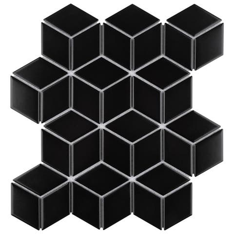 "SomerTile Metro Rhombus Matte Black 10.5""x12.13"" Porcelain Mosaic Floor and Wall Tile"