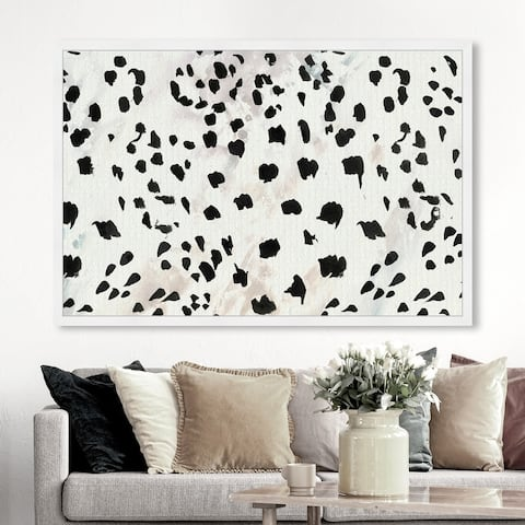 Oliver Gal 'Black Cheetah' Abstract Wall Art Framed Print Paint - White, Black